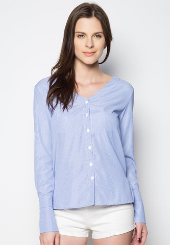V Neck Striped Long Sleeves - Caoros - 1
