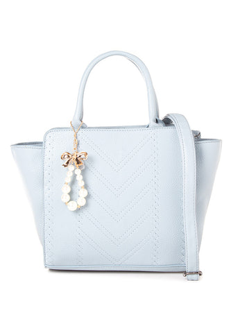 Stitched Shoulder Bag with Charm - Caoros - 1