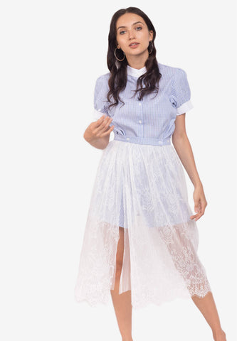 Pinstripe Dress with Lace Overlay Skirt