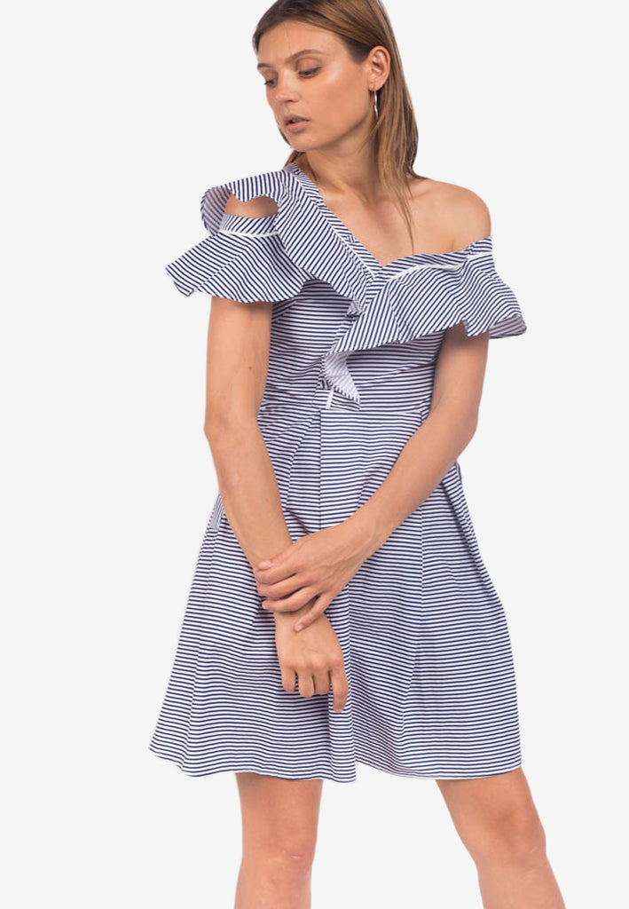 Striped Frill Dress