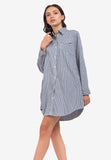 Cotton Stripe Shirt Dress