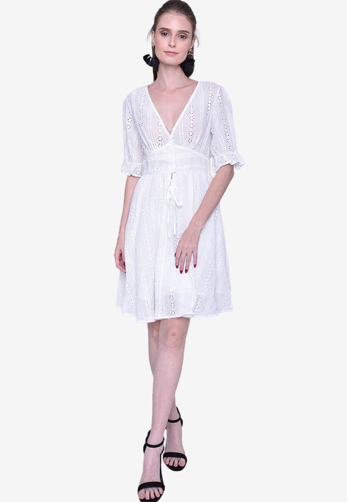 3/4 Sleeve Eyelet Dress