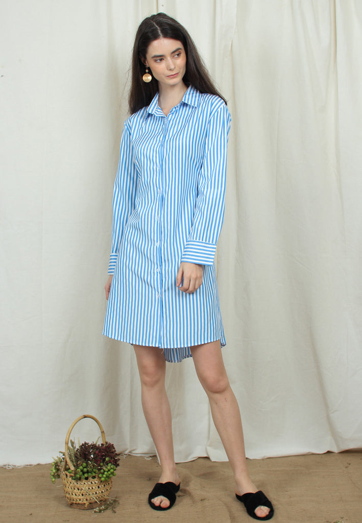 Tie-Waist Collared Dress
