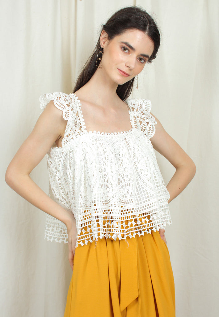Sleeveless Embroidered Peasant Crop Top