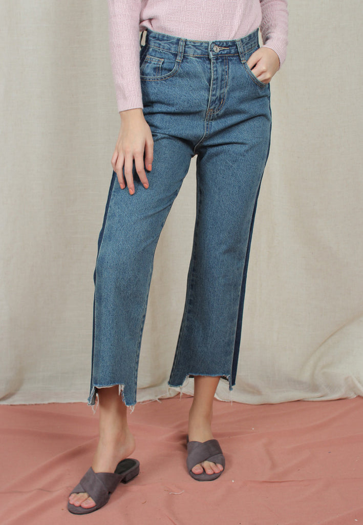 Two-Toned Cropped Jeans