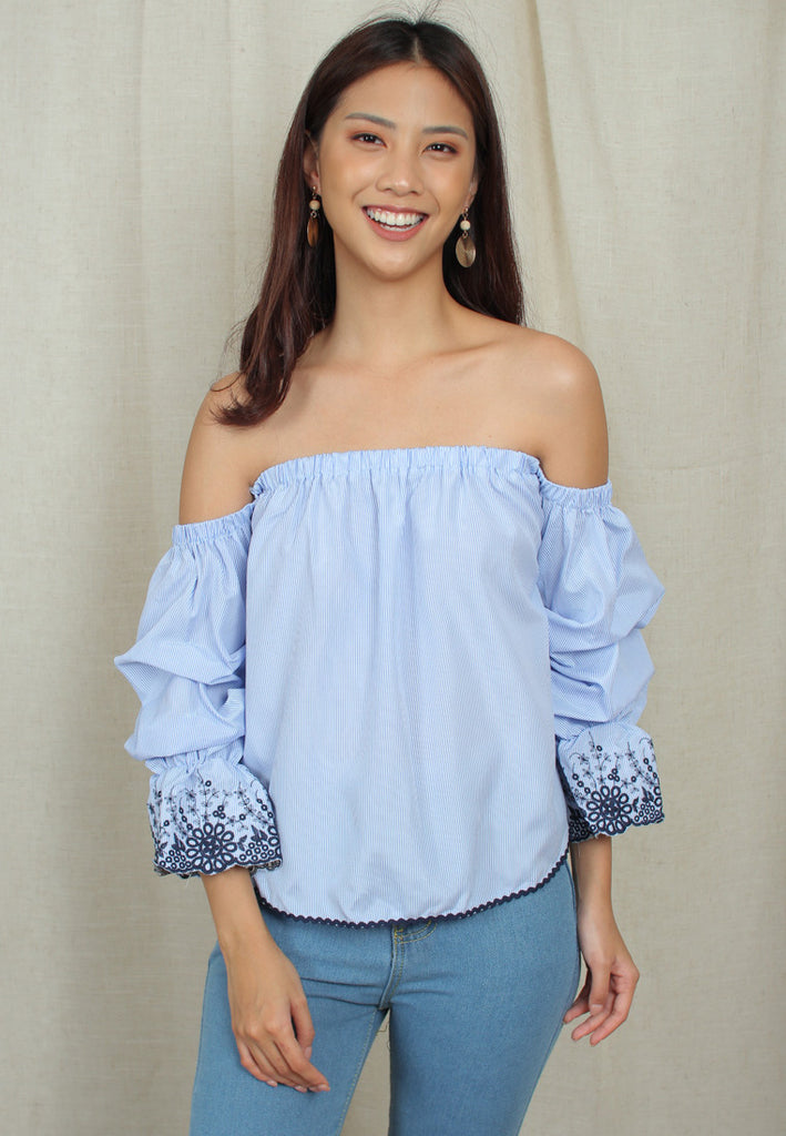 Embroidered Sleeve Off Shoulder Top