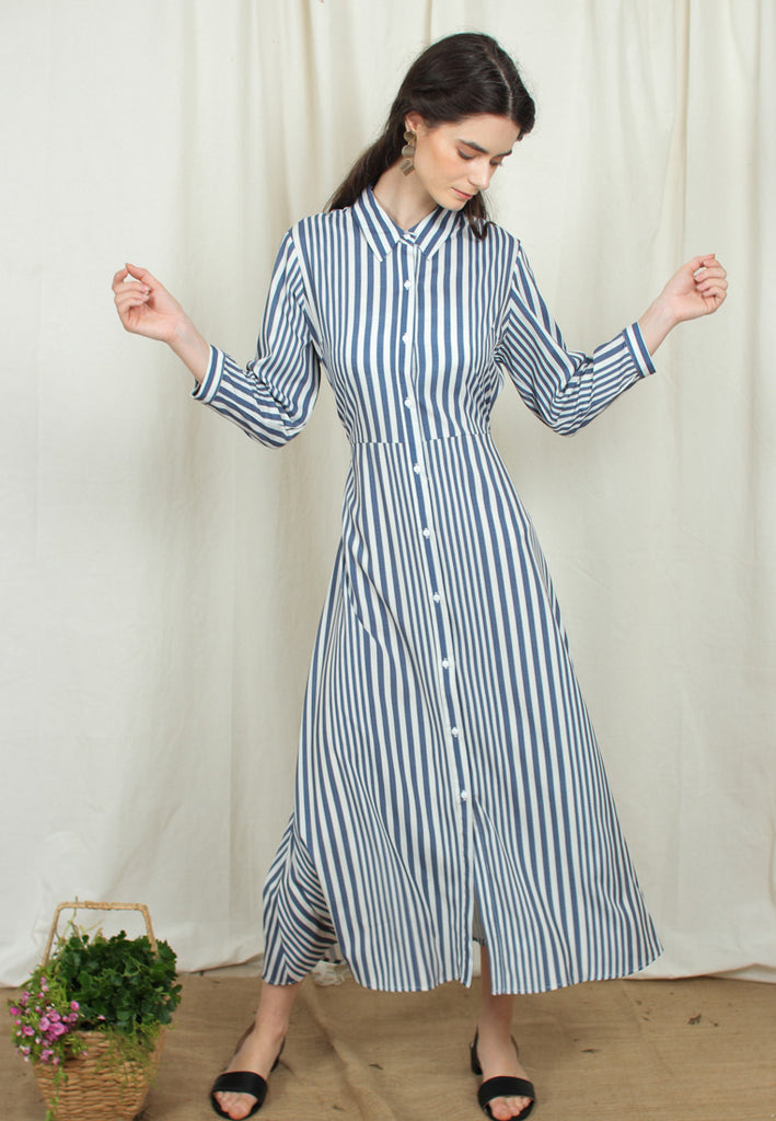 Tie-Waist Striped Dress