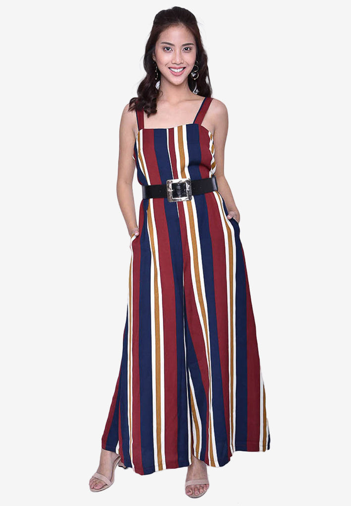 Multicolored Stripe Jumpsuit with Belt