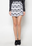 Printed Overlap Pencil Skirt - Caoros - 3