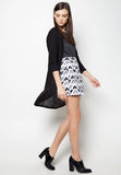 Printed Overlap Pencil Skirt - Caoros - 1