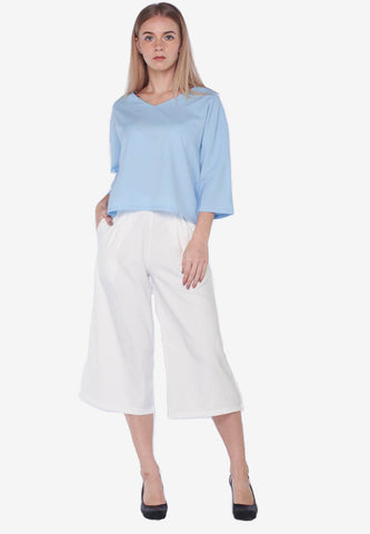 Vneck Top with Culottes Set