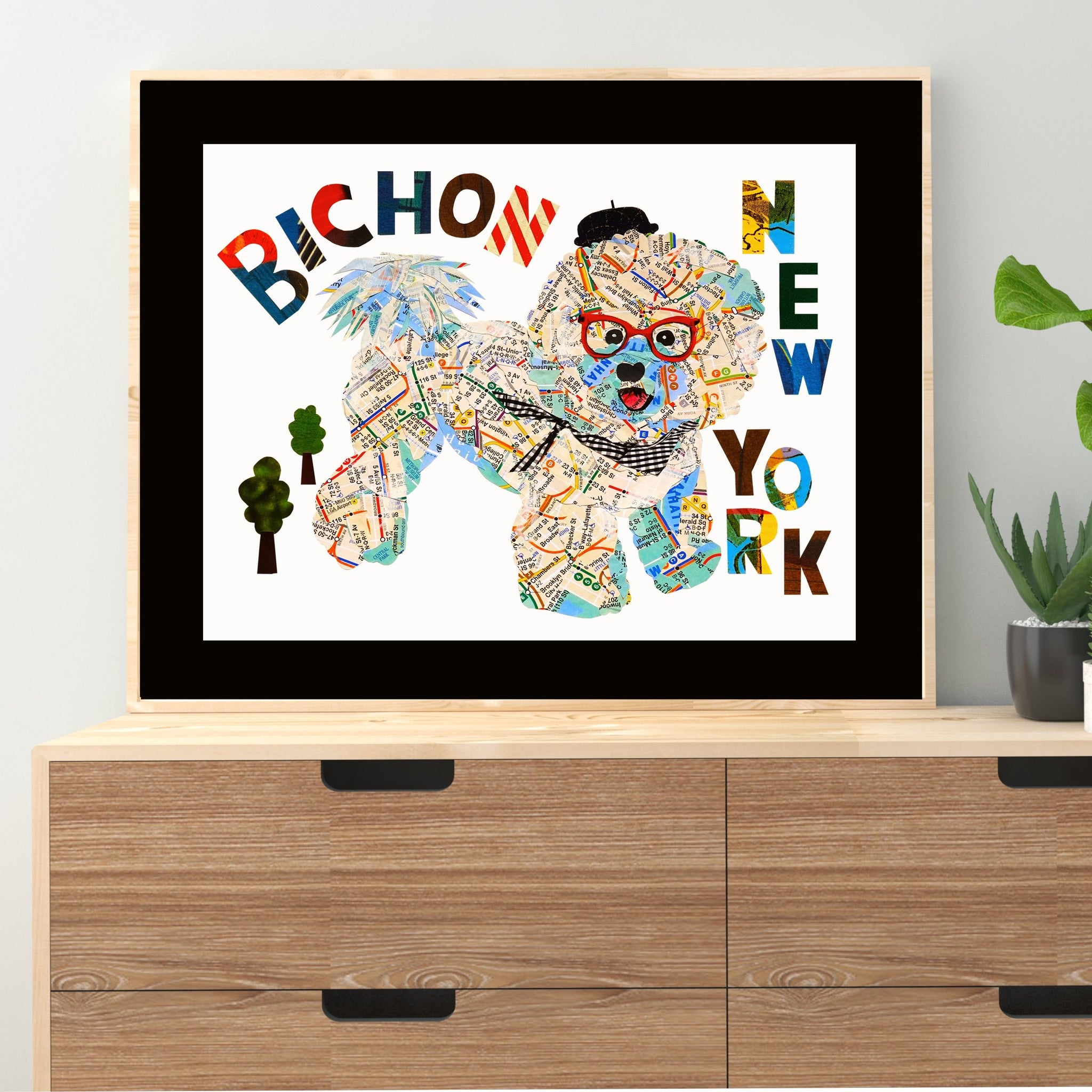 Map dog NY Bichon/Bichon Frise map dog art