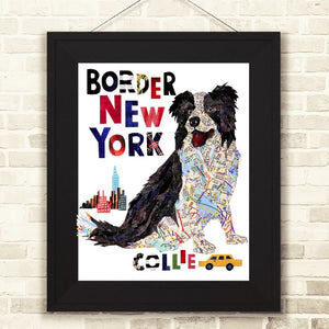 Map dog love Border Collie dog art print /sheep dog art print