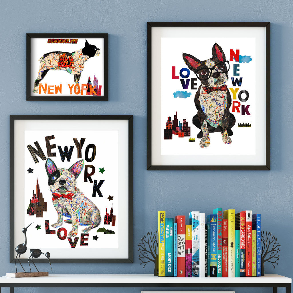 Map dog love Boston terrier dog Art