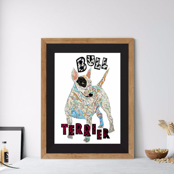 Map dog love Bull Terrier dog/Bull Terrier dog Art print