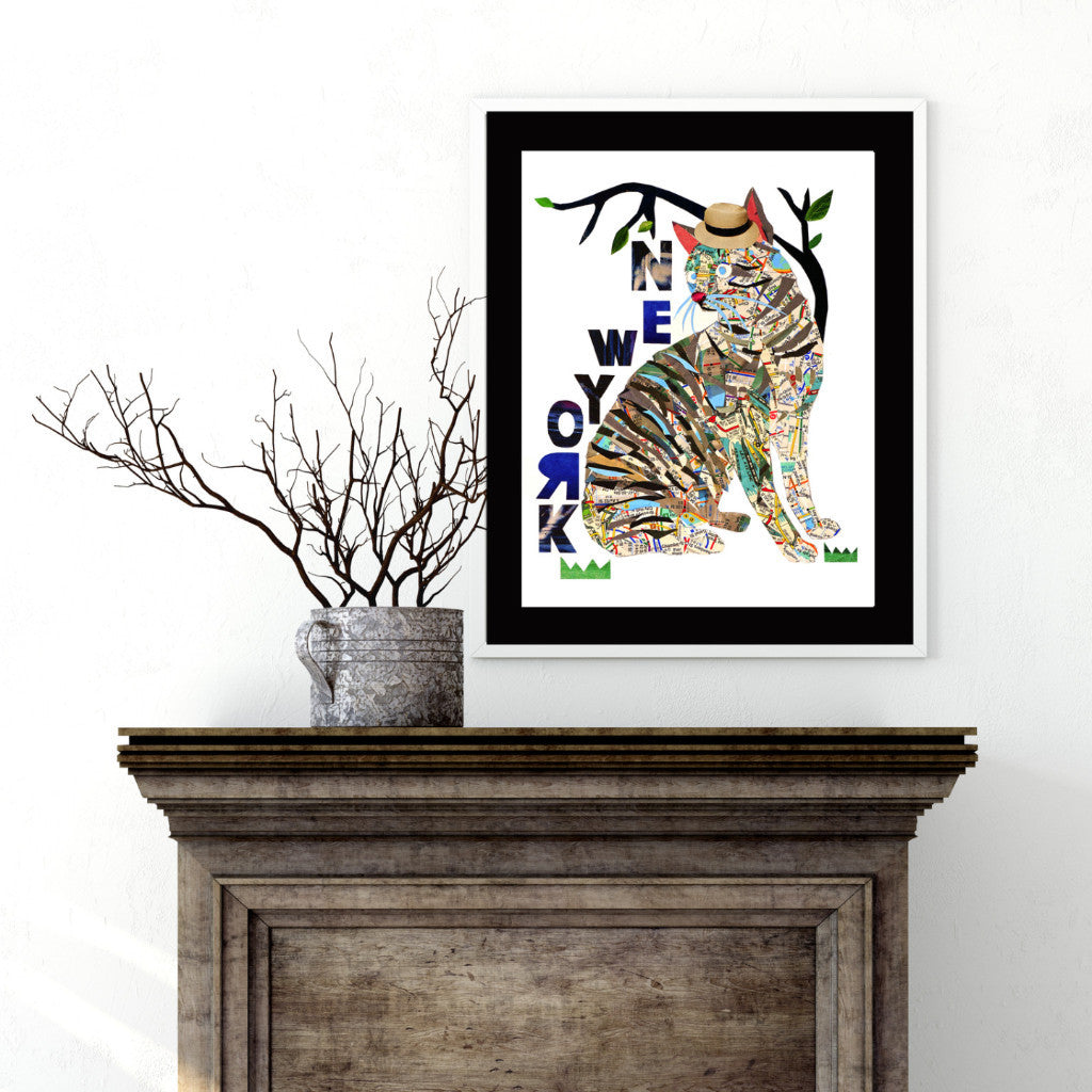 Map Cat love New York/Cat Art