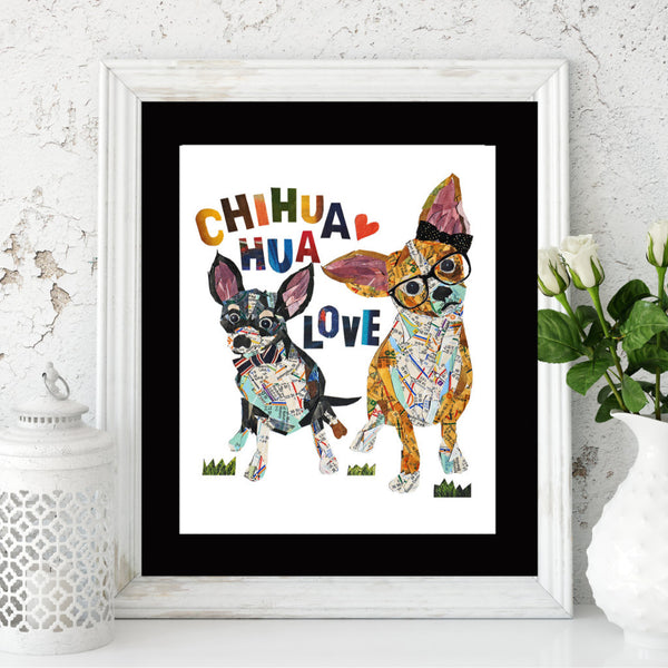 Map dog love CHIHUAHUA dog /Chihuahua dog Art