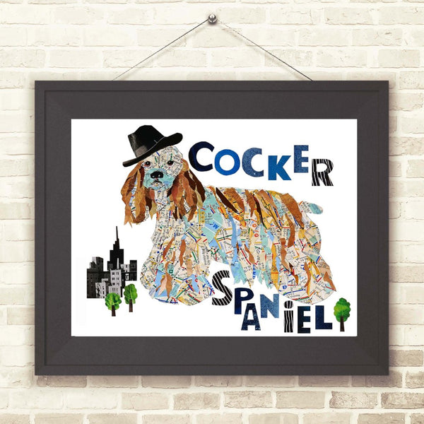 Map Cocker dog-Cocker spaniel Art Print-Cocker dog print Cocker spaniel dog cockerspaniel cocker spaniel art spaniel decor