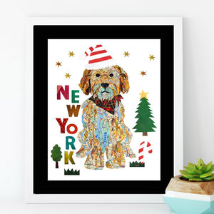 Holiday map dog art/doodle santa