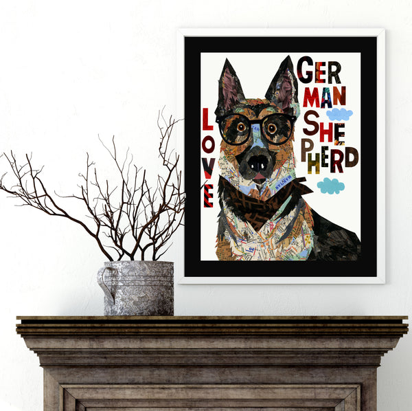 German shepherd print - German shepherd art  - German shepherd wall art  -Dog gift