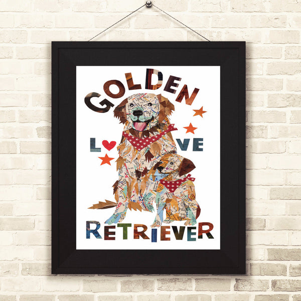 Map dog love golden dog/ Golden retriever