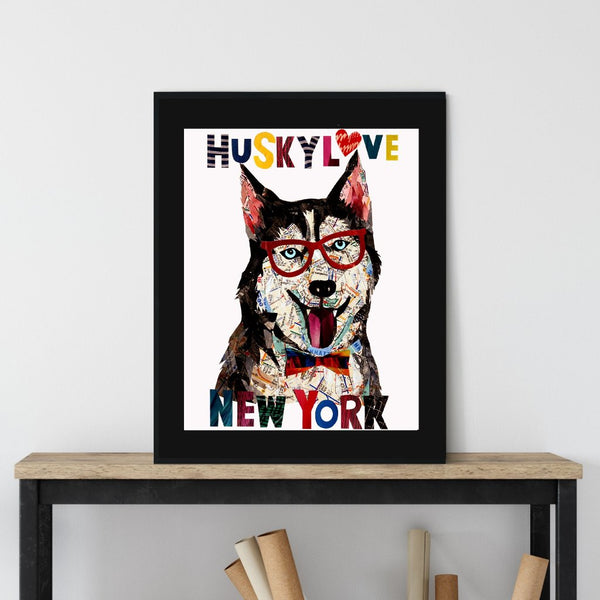 map dog love HUSKY DOG/Husky art/Husky dog art print