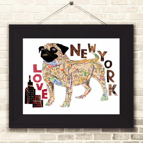 Map dog love Pug/ Pug dog Art