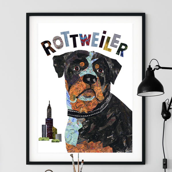 Map dog ROTTWEILER dog art
