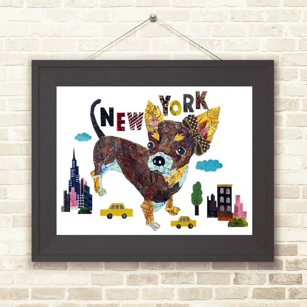 Map dog love teacup chihuahua Dog/chihuahua art/chihuahua art print
