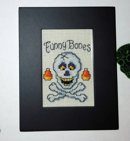 funny bones framed handmade cross stitch