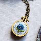 teal rose hand embroidered necklace