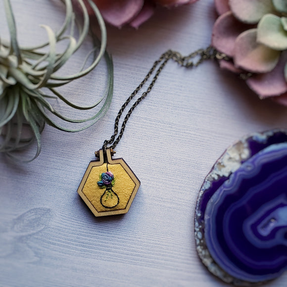 hand embroidered hexagon wooden pendant