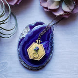 hand embroidered purple rose hexagon jewelry