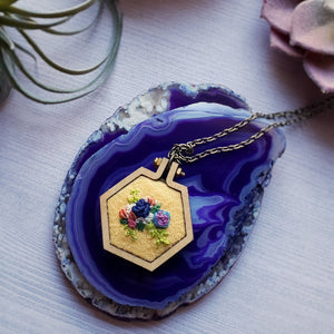 floral hand embroidered wooden necklace