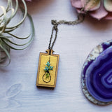 floral light bulb embroidered pendant