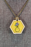 one of a kind purple rose hand stitched hexagon necklace