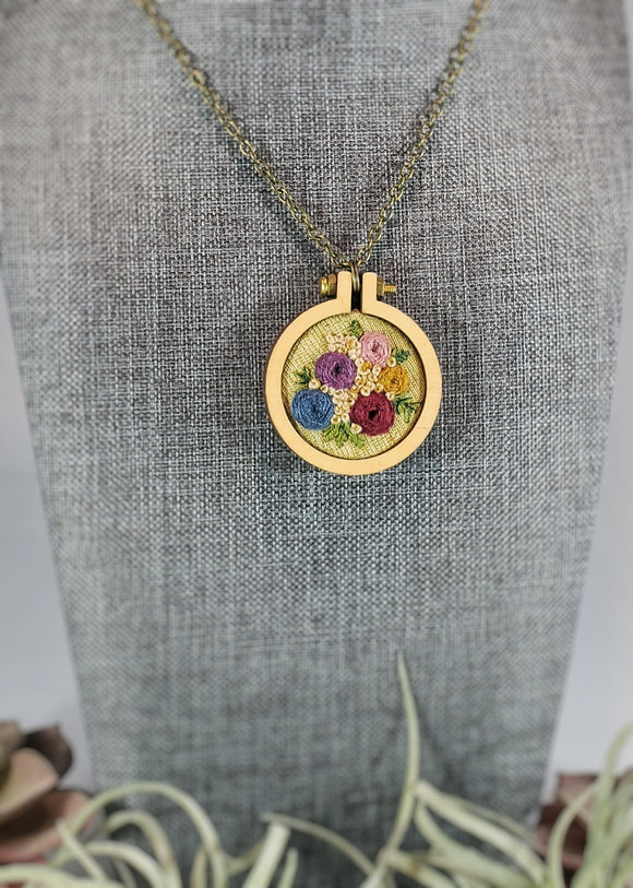 hand embroidered one of a kind necklaces