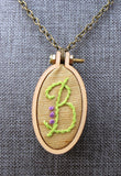 modern monogram B initial embroidered necklace
