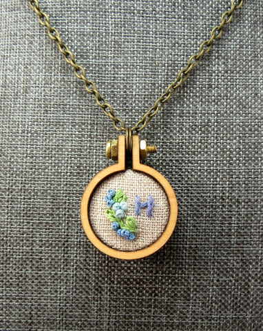 H embroidered small initial necklace