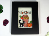 welcome RIP casket halloween framed handmade cross stitch