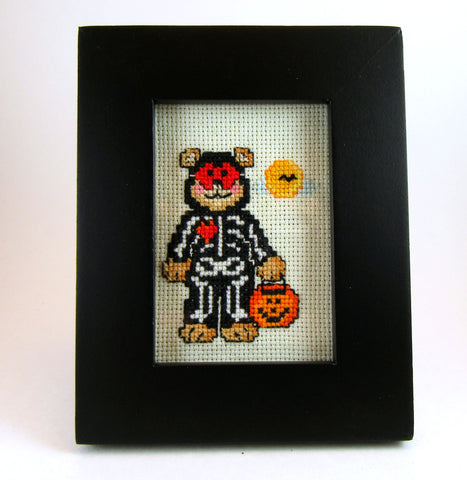 framed skeleton bear cross stitch