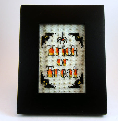 candy corn trick or treat framed handmade cross stitch