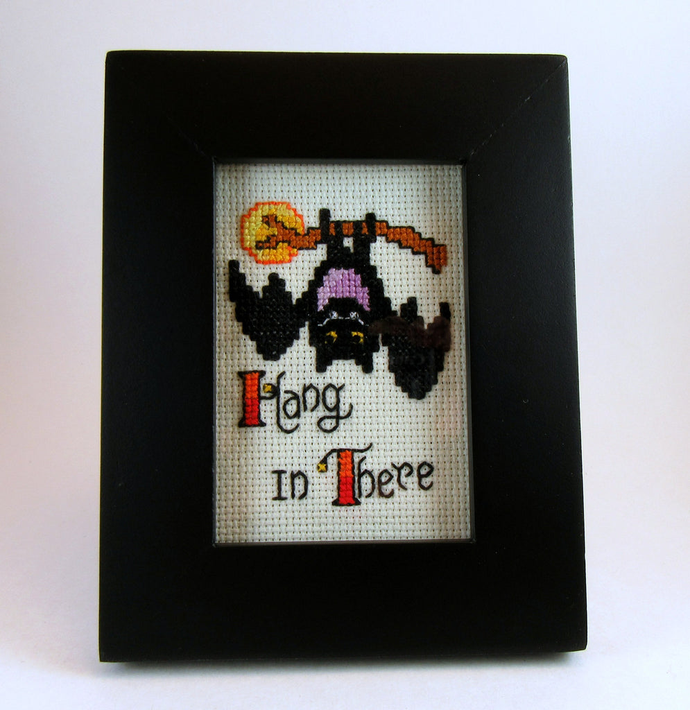 bat hang in there framed handmade cross stitch