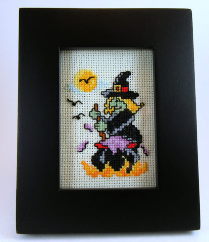 framed halloween witch cross stitch