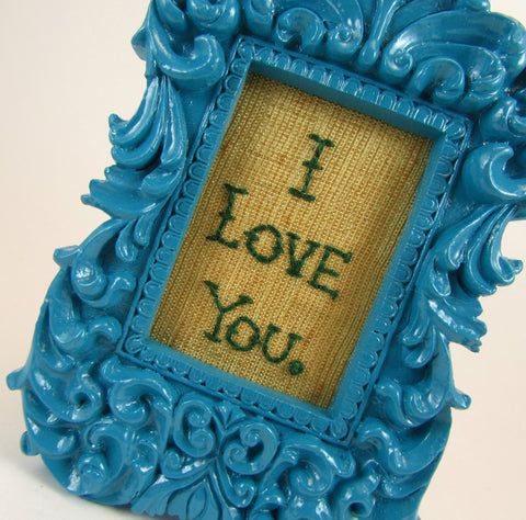 i love you mini framed hand embroidery