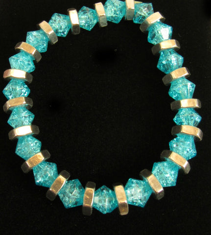light teal crackle glass bicone bead bracelet