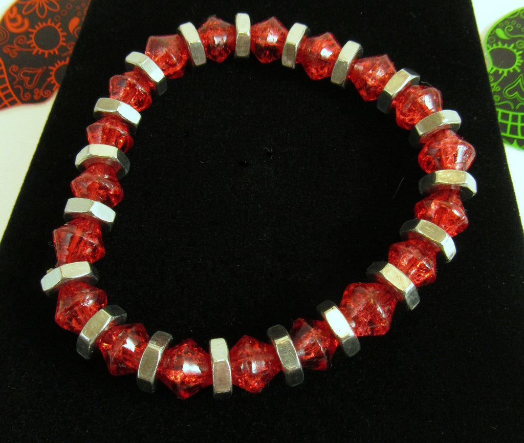 ruby red crackle glass bicone bead bracelet