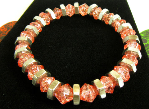 coral glass beaded handmade stretched bracelet Pretty In Shop