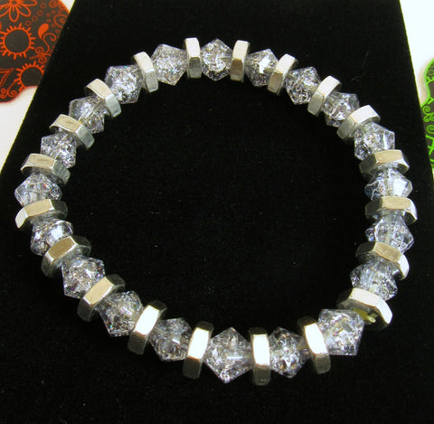 grey crackle glass bicone bead bracelet
