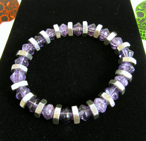 light purple crackle glass bicone bead bracelet